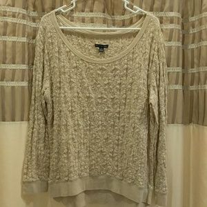 American eagle lace type wide neck long sleeve